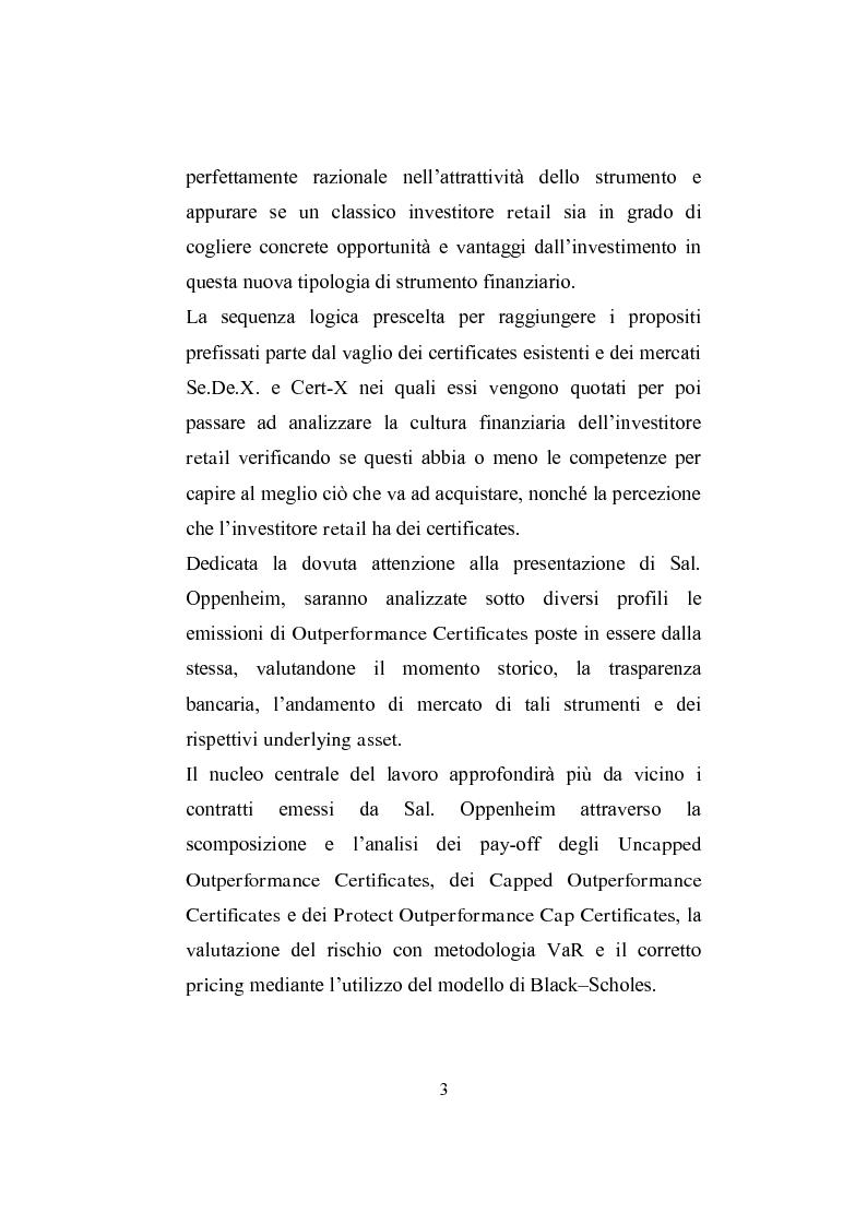 Anteprima della tesi: I derivati per la clientela retail: gli Outperformance Certificates di Sal. Oppenheim, Pagina 3