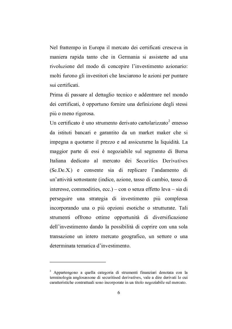 Anteprima della tesi: I derivati per la clientela retail: gli Outperformance Certificates di Sal. Oppenheim, Pagina 6