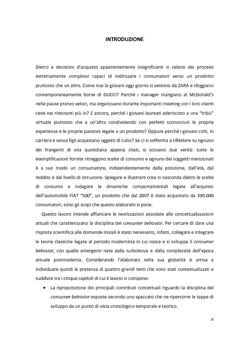Anteprima della tesi: Modelli di Consumer Behavior per la determinazione dei fattori critici di successo nell'industria automobilistica: il caso Fiat 500, Pagina 1