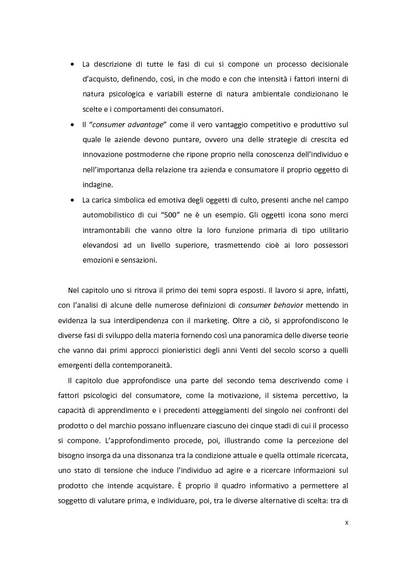 Anteprima della tesi: Modelli di Consumer Behavior per la determinazione dei fattori critici di successo nell'industria automobilistica: il caso Fiat 500, Pagina 2