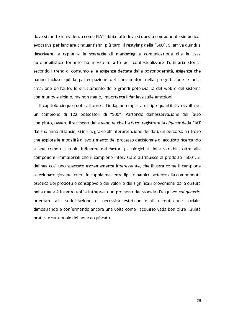 Anteprima della tesi: Modelli di Consumer Behavior per la determinazione dei fattori critici di successo nell'industria automobilistica: il caso Fiat 500, Pagina 4