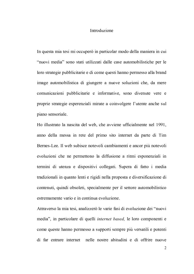 Anteprima della tesi: La brand image automobilistica corre sui nuovi media, Pagina 1