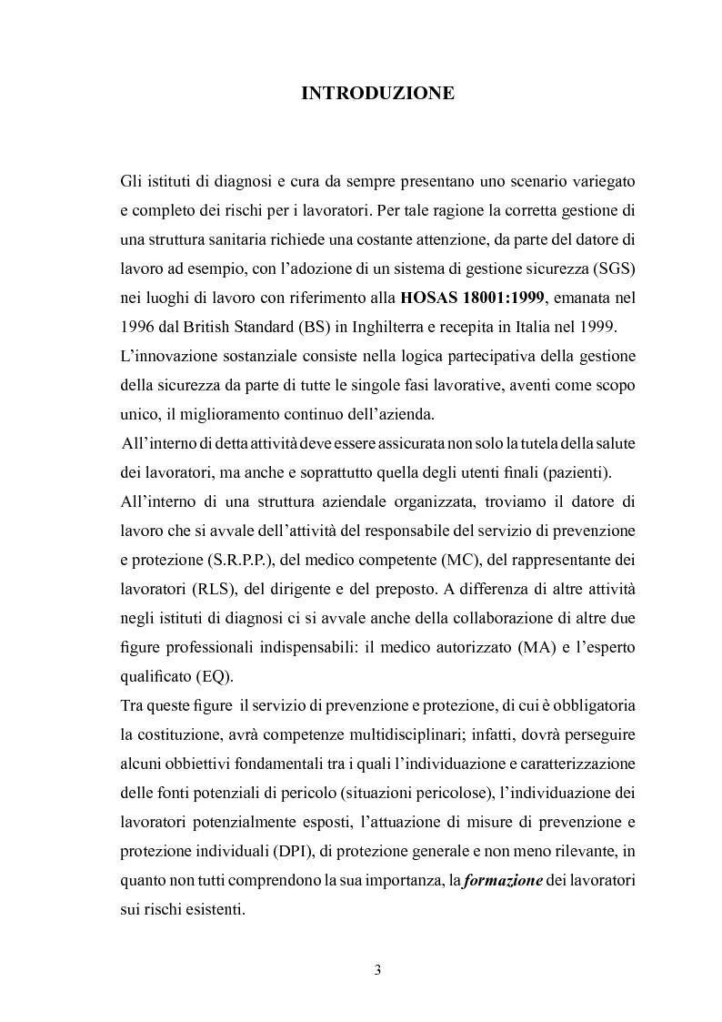 Anteprima della tesi: Gestione della sicurezza nei reparti di diagnostica di medicina nucleare con sorgenti radioattive non sigillate, Pagina 1