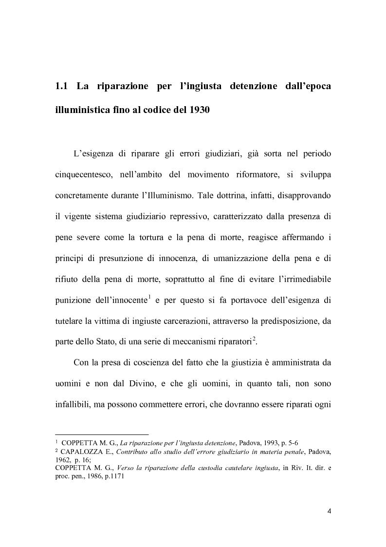 Anteprima della tesi: La riparazione per ingiusta detenzione alla luce della sentenza della corte costionale n.219 del 2008, Pagina 1