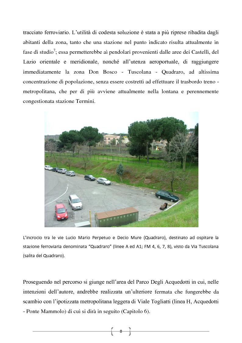 Anteprima della tesi: Progetto per un nuovo sistema di trasporto pubblico nel settore sud-orientale della città di Roma, Pagina 6