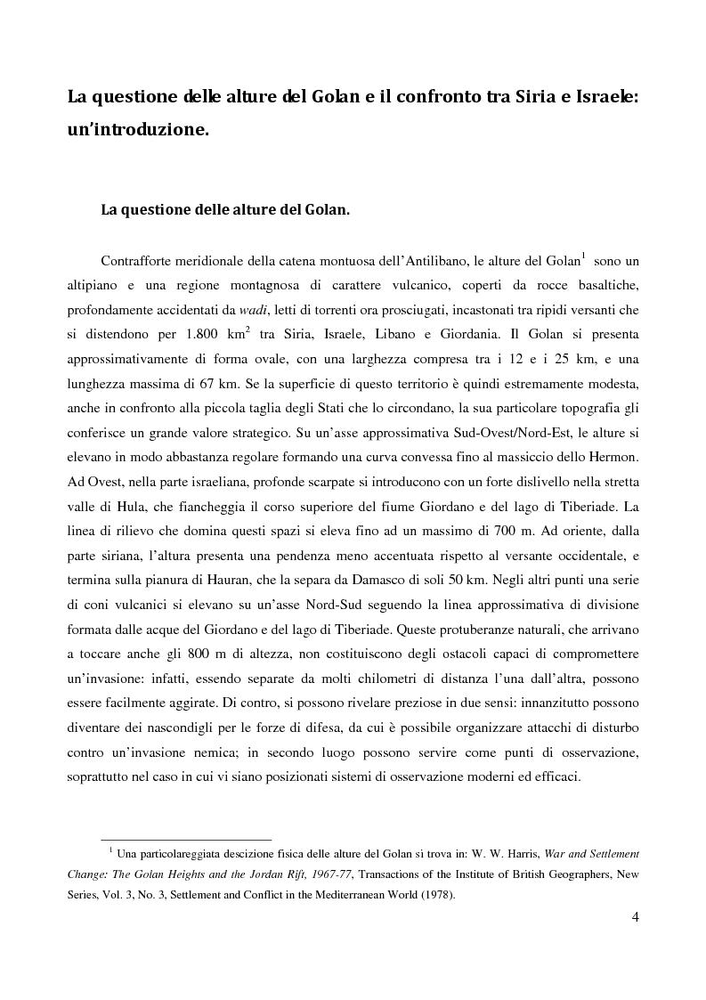 Anteprima della tesi: Le alture del Golan nel confronto tra Siria e Israele, Pagina 1