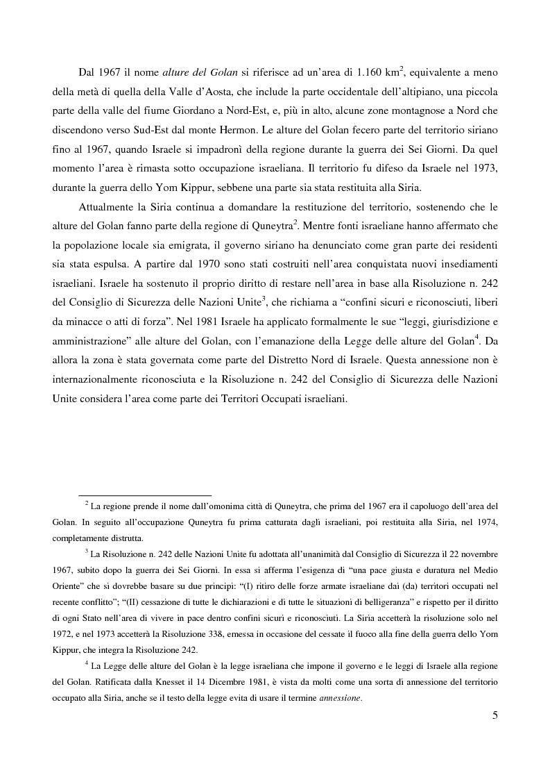 Anteprima della tesi: Le alture del Golan nel confronto tra Siria e Israele, Pagina 2