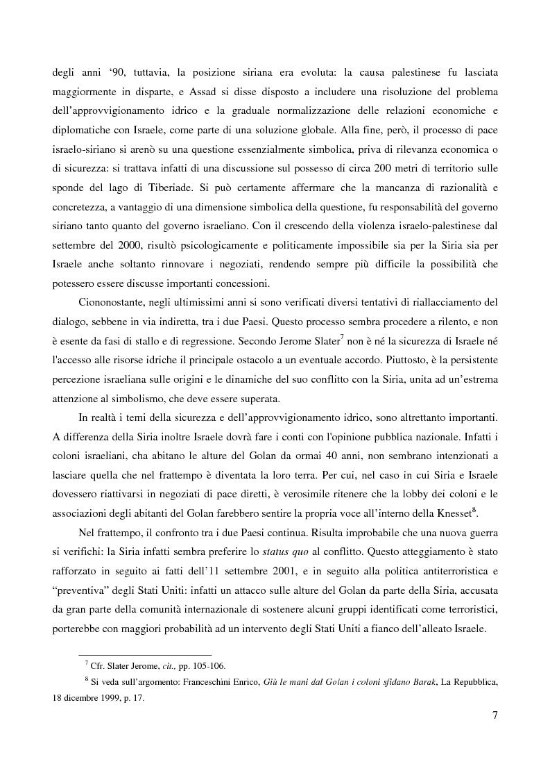 Anteprima della tesi: Le alture del Golan nel confronto tra Siria e Israele, Pagina 4