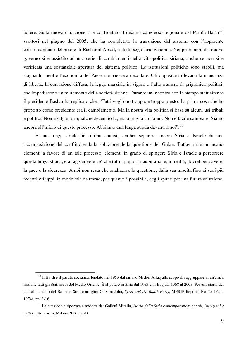 Anteprima della tesi: Le alture del Golan nel confronto tra Siria e Israele, Pagina 6