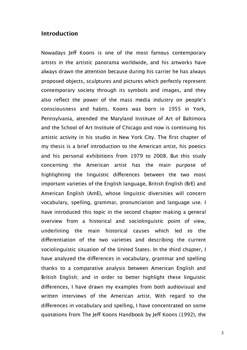 Anteprima della tesi: Jeff Koons and the use of American English, Pagina 1