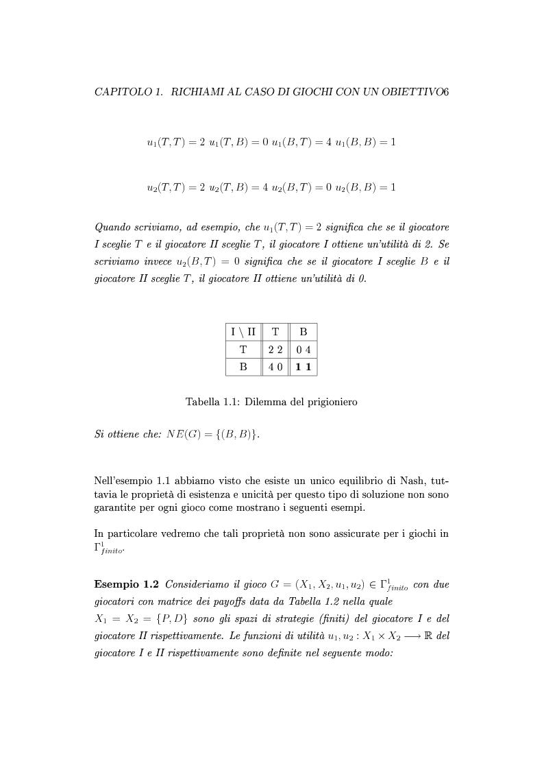 Anteprima della tesi: Giochi non cooperativi con più obiettivi, Pagina 11