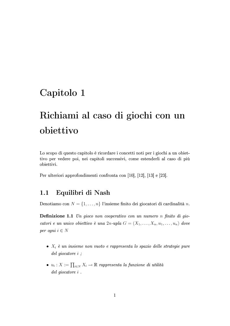 Anteprima della tesi: Giochi non cooperativi con più obiettivi, Pagina 6