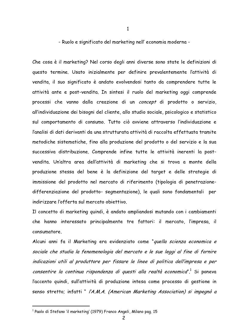 Anteprima della tesi: Il marketing nella new economy, Pagina 1