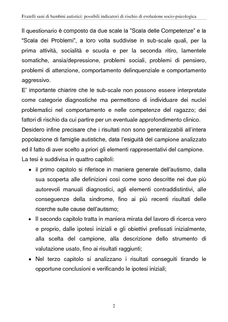 Anteprima della tesi: Fratelli sani di bambini autistici: possibili indicatori di rischio di evoluzione socio-psicologica, Pagina 2