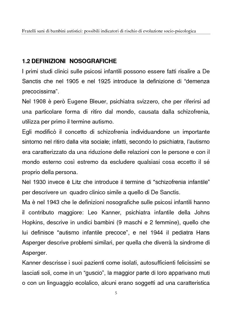 Anteprima della tesi: Fratelli sani di bambini autistici: possibili indicatori di rischio di evoluzione socio-psicologica, Pagina 5