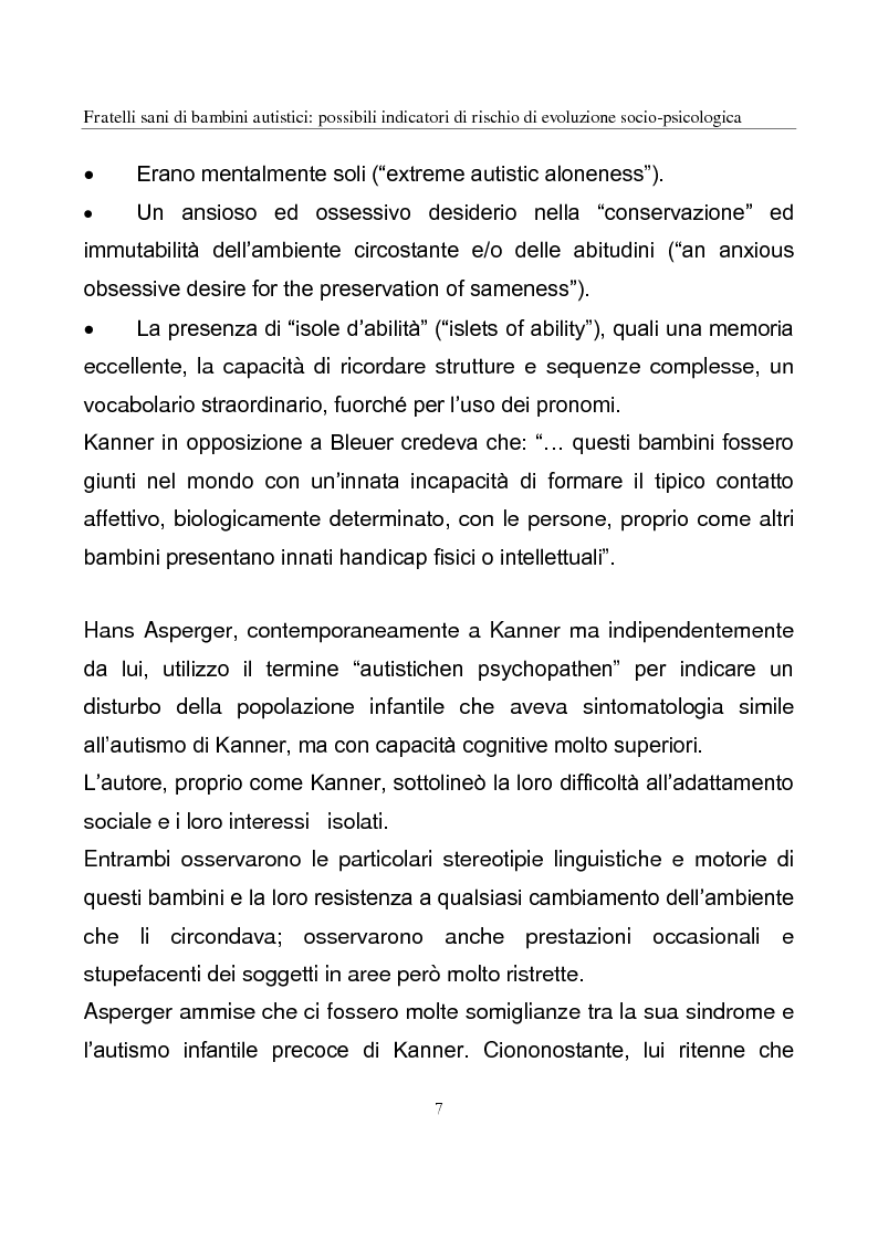 Anteprima della tesi: Fratelli sani di bambini autistici: possibili indicatori di rischio di evoluzione socio-psicologica, Pagina 7
