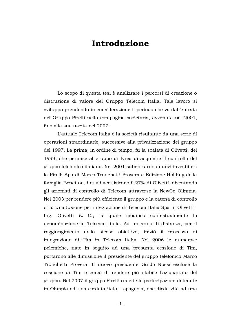 Anteprima della tesi: Acquisizioni aziendali e processi di creazione/distruzione di valore. Il caso Pirelli - Telecom Italia., Pagina 1