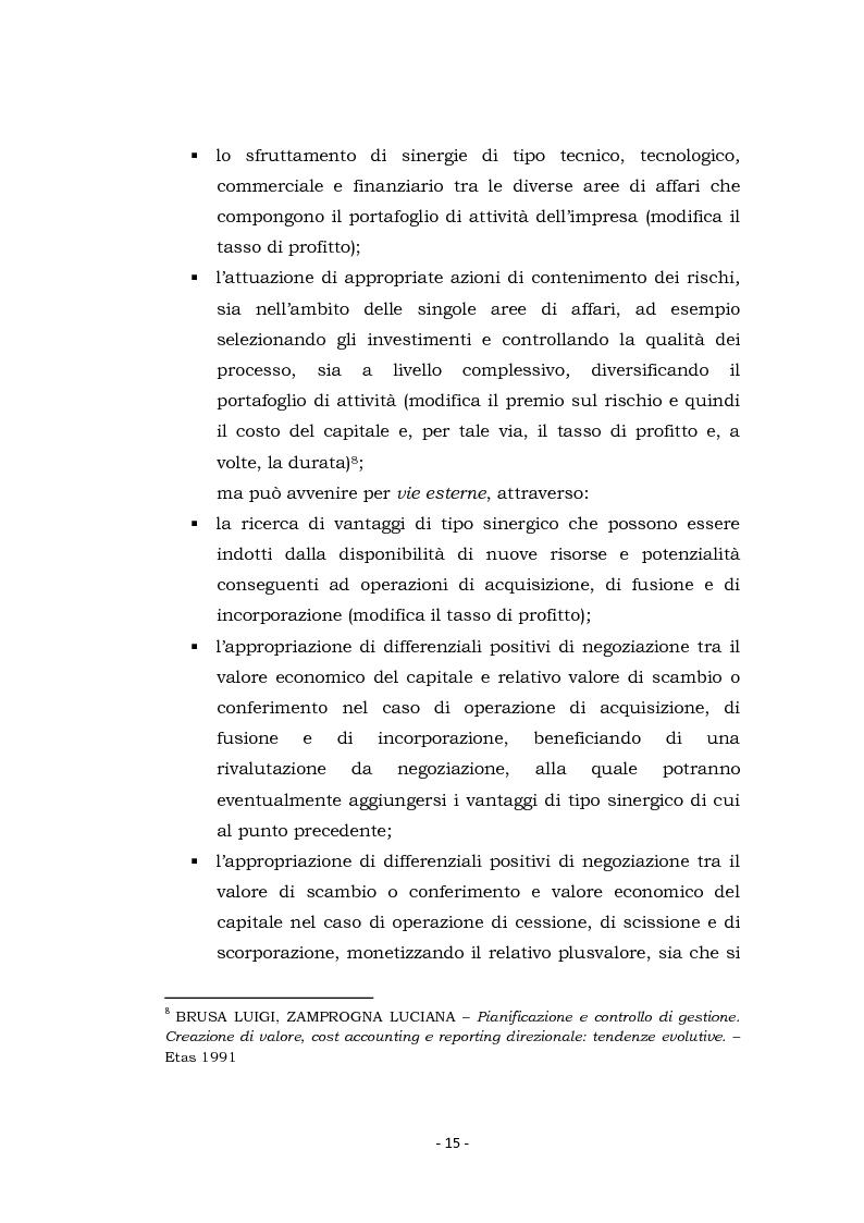 Anteprima della tesi: Acquisizioni aziendali e processi di creazione/distruzione di valore. Il caso Pirelli - Telecom Italia., Pagina 15