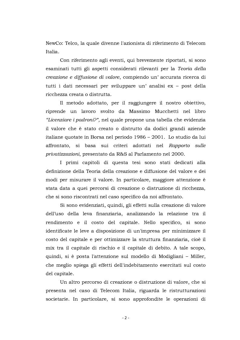 Anteprima della tesi: Acquisizioni aziendali e processi di creazione/distruzione di valore. Il caso Pirelli - Telecom Italia., Pagina 2