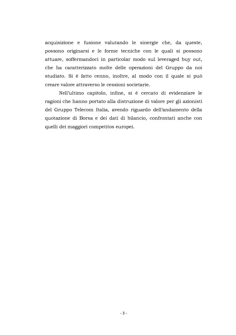 Anteprima della tesi: Acquisizioni aziendali e processi di creazione/distruzione di valore. Il caso Pirelli - Telecom Italia., Pagina 3