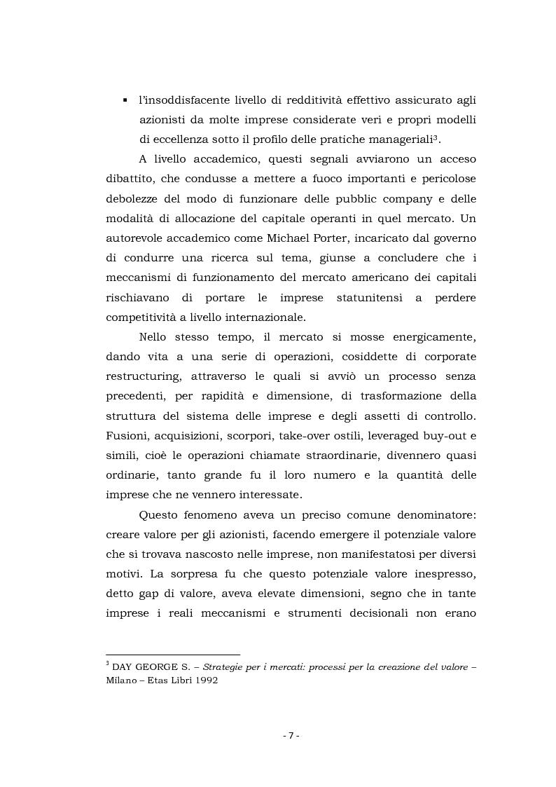 Anteprima della tesi: Acquisizioni aziendali e processi di creazione/distruzione di valore. Il caso Pirelli - Telecom Italia., Pagina 7