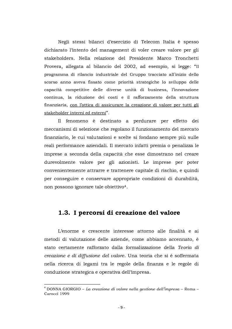 Anteprima della tesi: Acquisizioni aziendali e processi di creazione/distruzione di valore. Il caso Pirelli - Telecom Italia., Pagina 9
