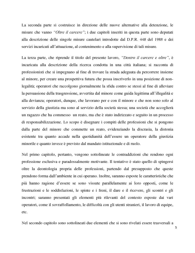 Anteprima della tesi: Dentro il carcere e oltre. La devianza minorile tra sanzione e recupero., Pagina 2