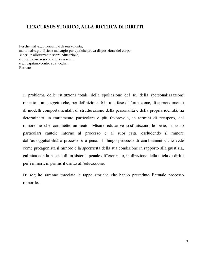 Anteprima della tesi: Dentro il carcere e oltre. La devianza minorile tra sanzione e recupero., Pagina 6