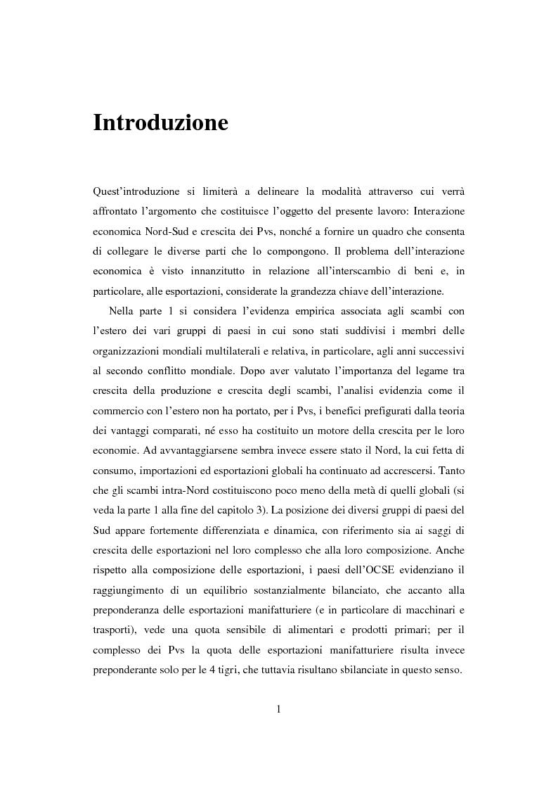 Anteprima della tesi: Interazione economica Nord-Sud e crescita dei Paesi in Via di Sviluppo, Pagina 1
