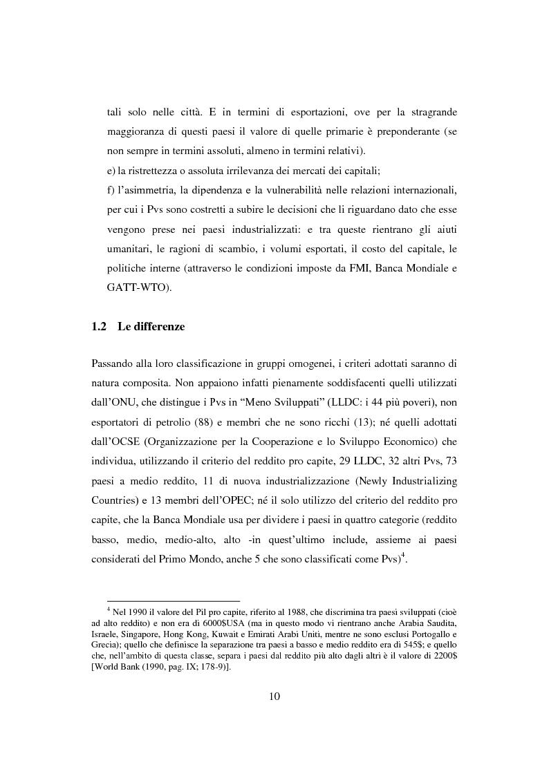 Anteprima della tesi: Interazione economica Nord-Sud e crescita dei Paesi in Via di Sviluppo, Pagina 10