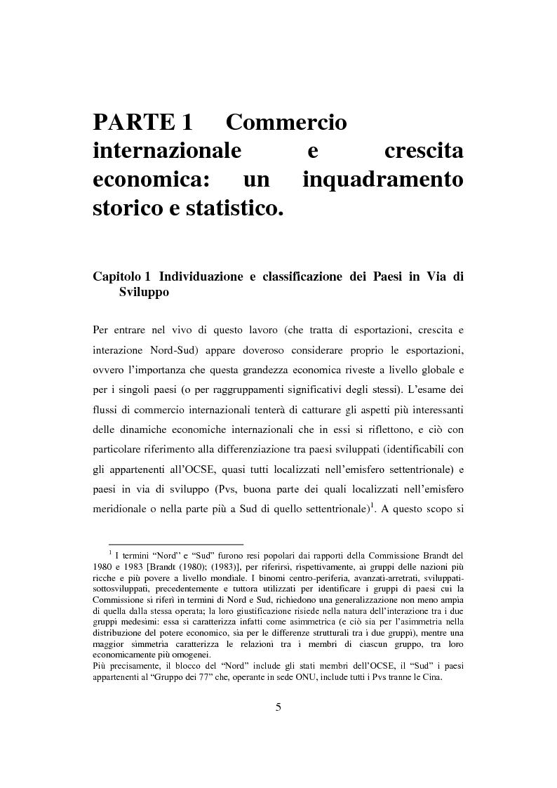 Anteprima della tesi: Interazione economica Nord-Sud e crescita dei Paesi in Via di Sviluppo, Pagina 5