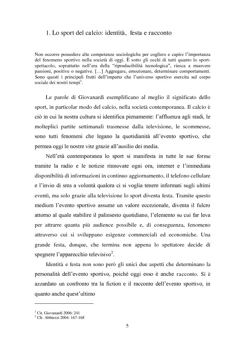 Anteprima della tesi: Il linguaggio della cronaca calcistica in tv: La Domenica Sportiva, Controcampo e Diretta Stadio (2009/2010), Pagina 1