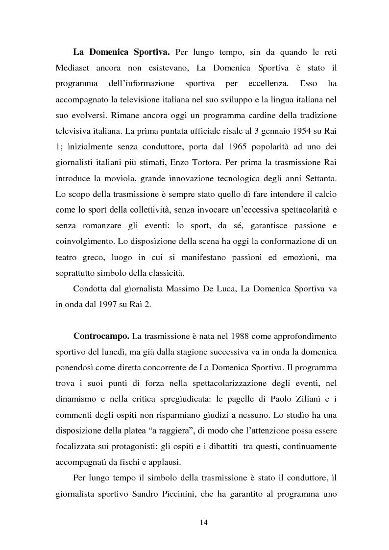 Anteprima della tesi: Il linguaggio della cronaca calcistica in tv: La Domenica Sportiva, Controcampo e Diretta Stadio (2009/2010), Pagina 10