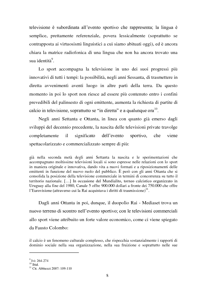 Anteprima della tesi: Il linguaggio della cronaca calcistica in tv: La Domenica Sportiva, Controcampo e Diretta Stadio (2009/2010), Pagina 4