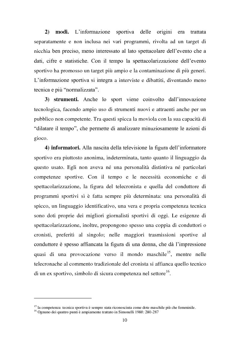 Anteprima della tesi: Il linguaggio della cronaca calcistica in tv: La Domenica Sportiva, Controcampo e Diretta Stadio (2009/2010), Pagina 6