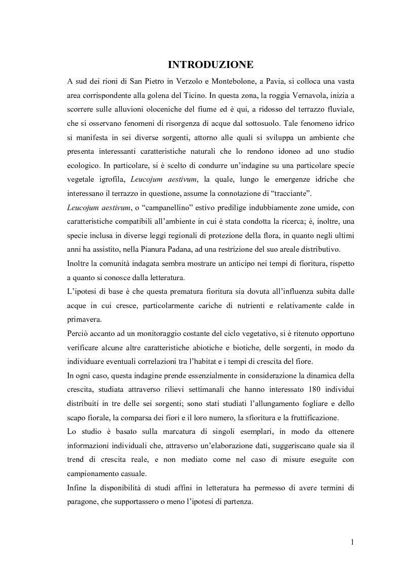 Anteprima della tesi: Dinamica di accrescimento di Leucojum aestivum L. in alcune sorgenti di terrazzo a Pavia, Pagina 1