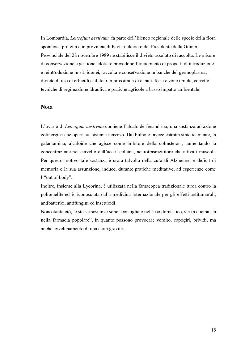 Anteprima della tesi: Dinamica di accrescimento di Leucojum aestivum L. in alcune sorgenti di terrazzo a Pavia, Pagina 15