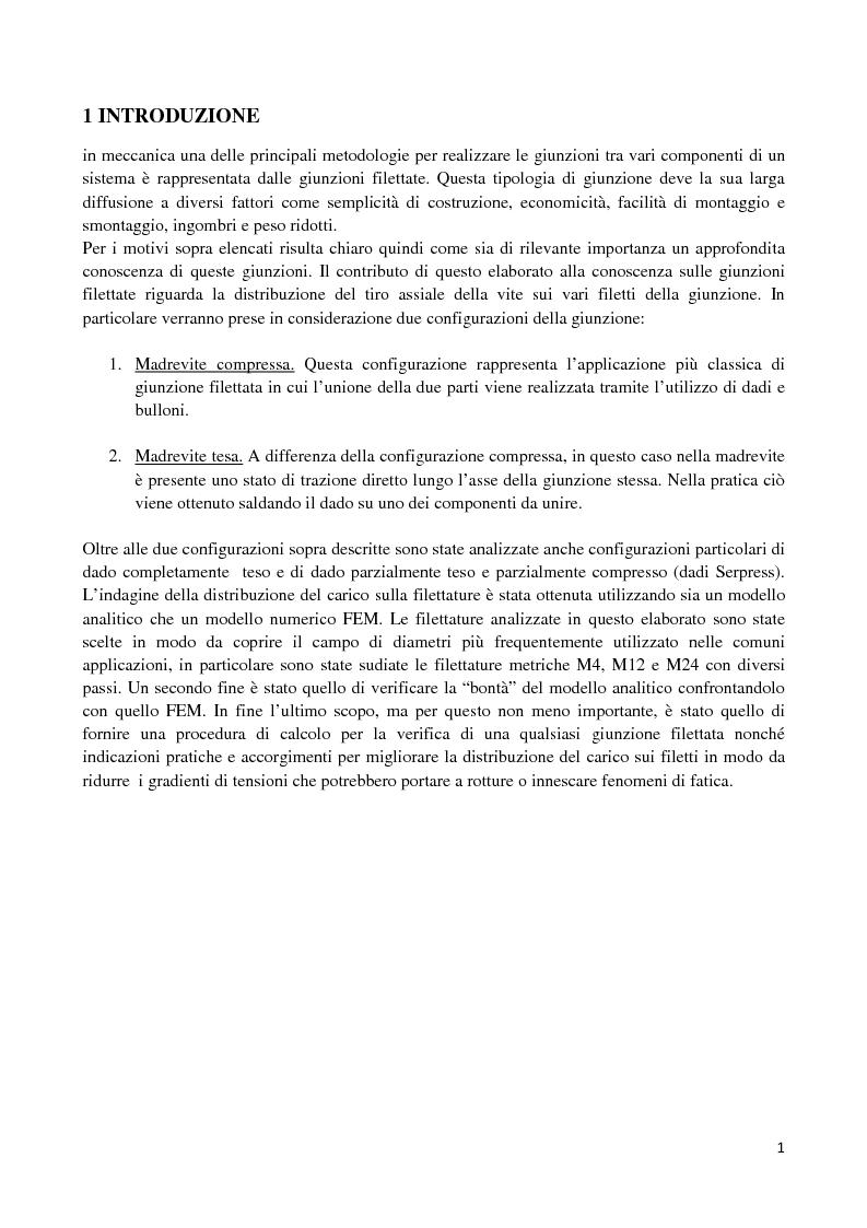 Anteprima della tesi: La distribuzione dei carichi nelle giunzioni filettate, Pagina 1