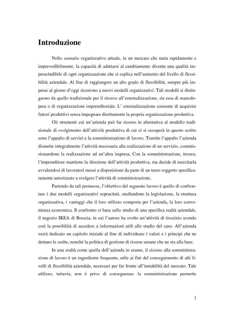 Anteprima della tesi: L'outsourcing di attività ad alta intensità di lavoro: il caso IKEA - Brescia, Pagina 1