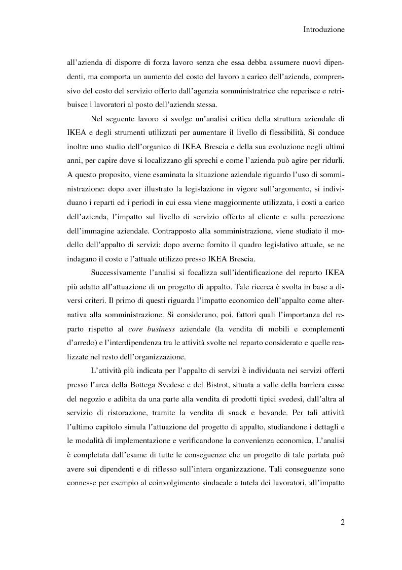 Anteprima della tesi: L'outsourcing di attività ad alta intensità di lavoro: il caso IKEA - Brescia, Pagina 2