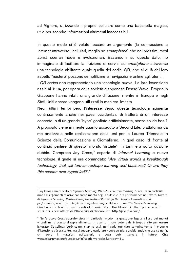 Anteprima della tesi: Alghero QR - La città parla in codice. Tra turismo, web 2.0, servizi mobile e progetti sperimentali., Pagina 5