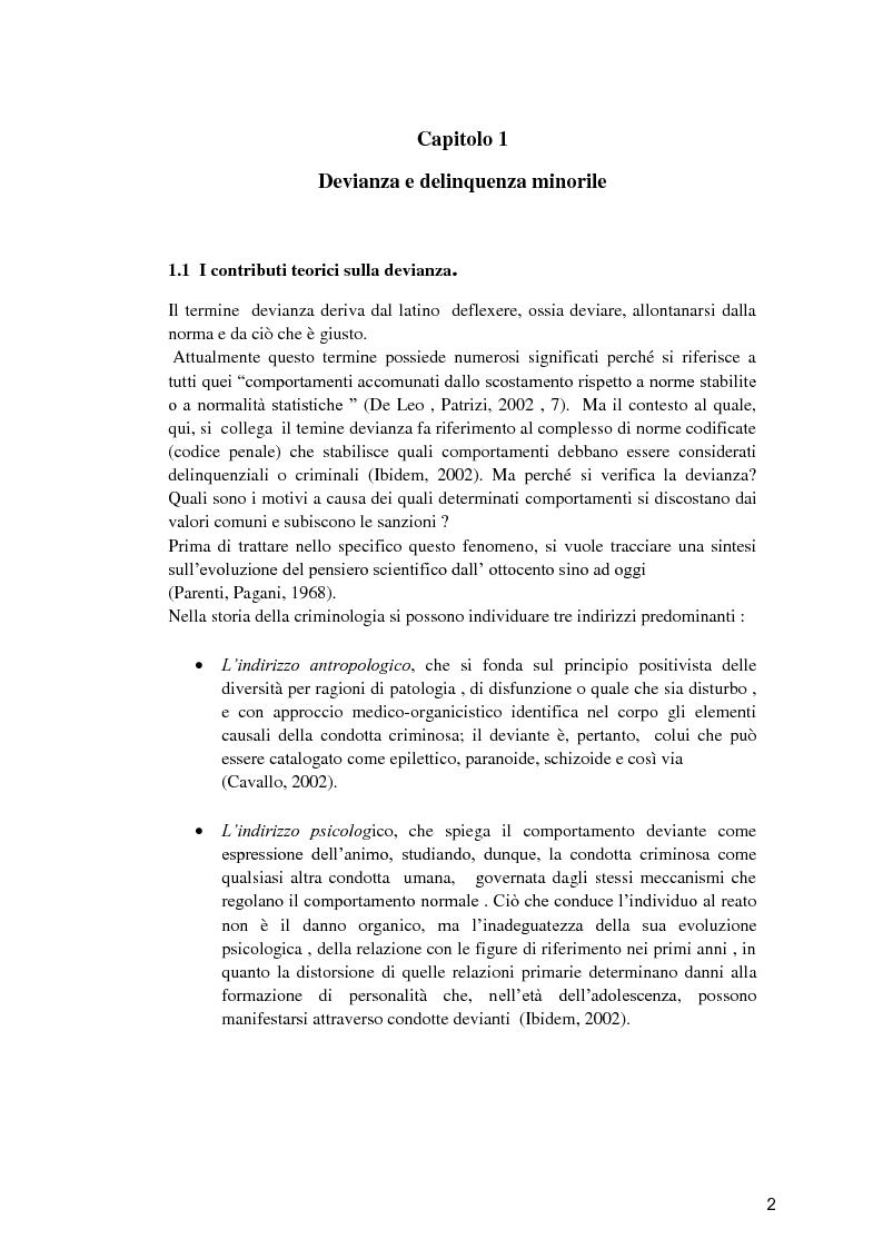 Anteprima della tesi: Il minore dell'area penale e l'inserimento lavorativo nel percorso rieducativo, Pagina 1