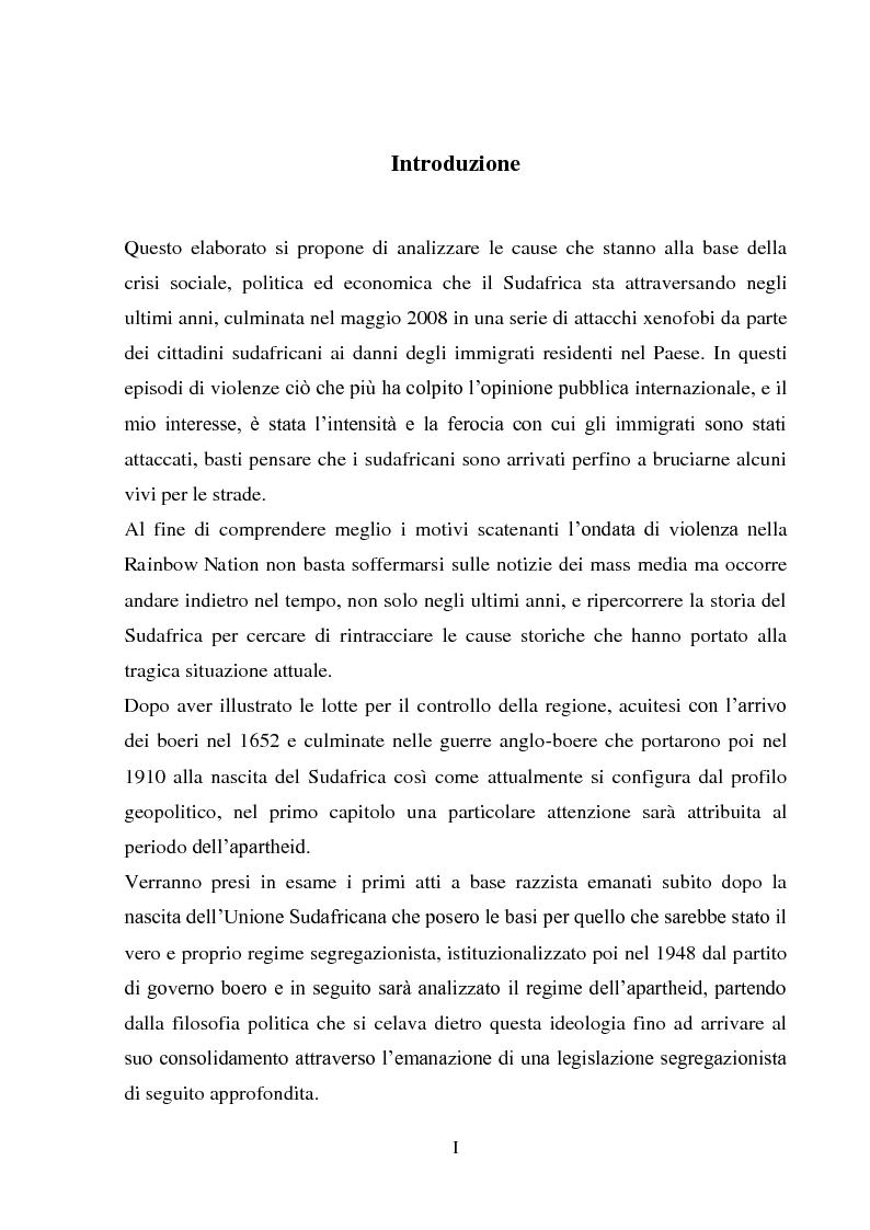 Anteprima della tesi: Processi di inclusione/esclusione nel Sudafrica contemporaneo. Dall'apartheid alla Rainbow Nation., Pagina 1