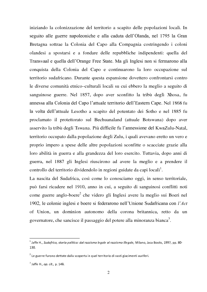 Anteprima della tesi: Processi di inclusione/esclusione nel Sudafrica contemporaneo. Dall'apartheid alla Rainbow Nation., Pagina 5