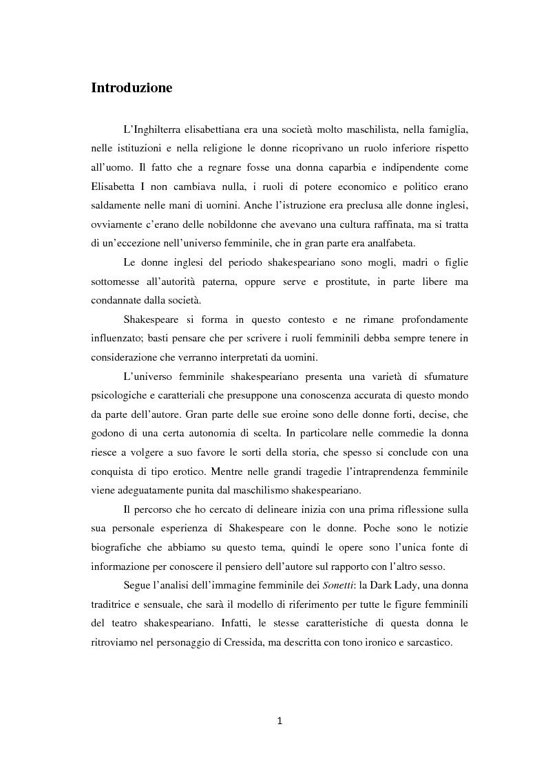 Anteprima della tesi: La metamorfosi della femminilità nei Sonetti, nell'Amleto e nel Macbeth di William Shakespeare, Pagina 1