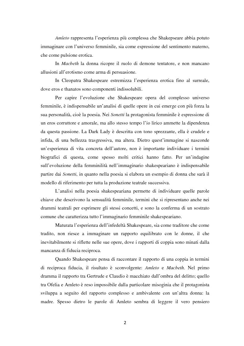 Anteprima della tesi: La metamorfosi della femminilità nei Sonetti, nell'Amleto e nel Macbeth di William Shakespeare, Pagina 2