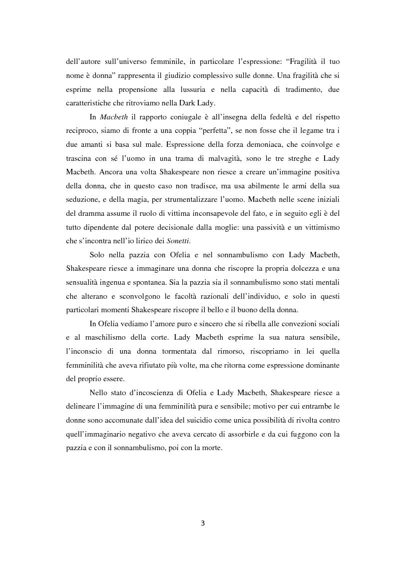 Anteprima della tesi: La metamorfosi della femminilità nei Sonetti, nell'Amleto e nel Macbeth di William Shakespeare, Pagina 3