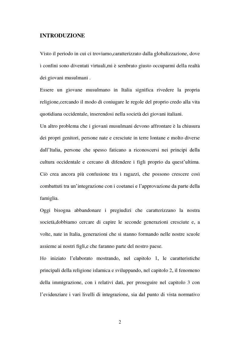 Anteprima della tesi: Giovani musulmani d'Italia, Pagina 1