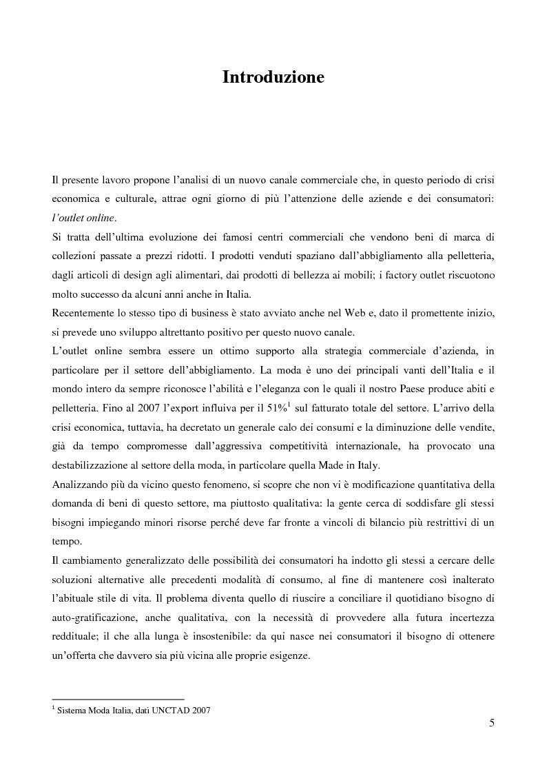 Anteprima della tesi: Lo sviluppo di un nuovo canale commerciale: gli outlet elettronici, Pagina 1