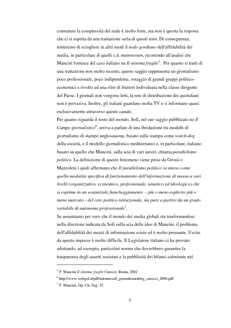 Anteprima della tesi: Tra blog e giornalismo, uno sguardo critico sul mondo dell'informazione in Rete, Pagina 5